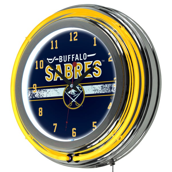 NHL Chrome Double Rung Neon Clock - Buffalo Sabres