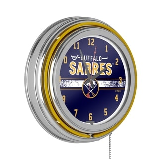 NHL Chrome Double Rung Neon Clock - Buffalo Sabres
