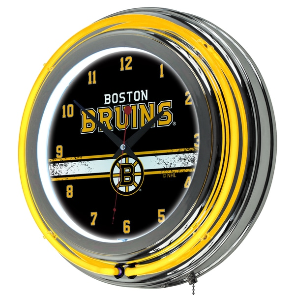 NHL Chrome Double Rung Neon Clock - Boston Bruins