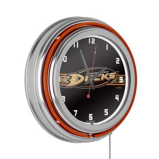 NHL Chrome Double Rung Neon Clock - Anaheim Ducks