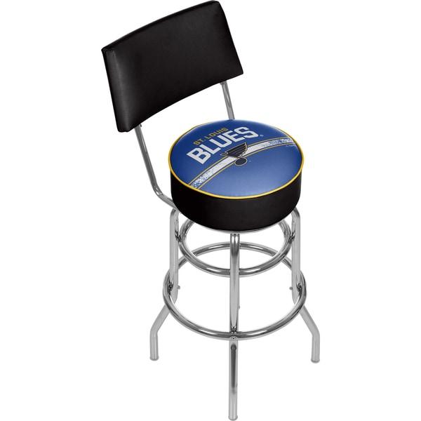 NHL Swivel Bar Stool with Back - St. Louis Blues