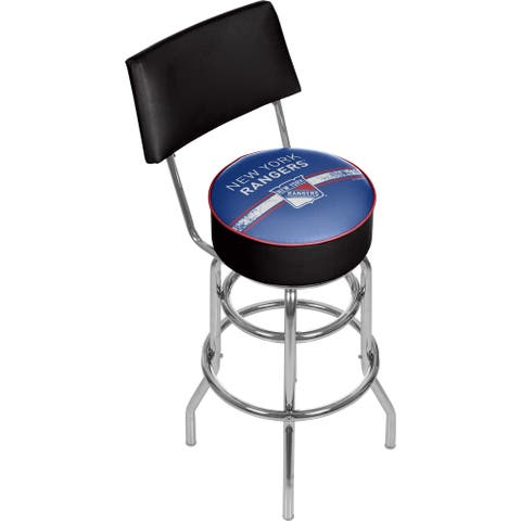 NHL Swivel Bar Stool with Back - New York Rangers