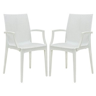 LeisureMod Mace Weave Wicker Design Indoor/ Outdoor White Dining Armchair (Set of 2)