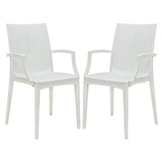 LeisureMod Mace Weave Wicker Design Indoor/ Outdoor White Dining Armchair (Set of 2)