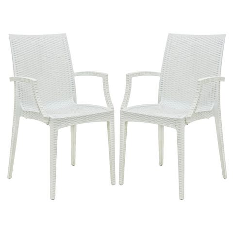 LeisureMod Weave Mace Indoor Outdoor White Dining Armchair Set of 2