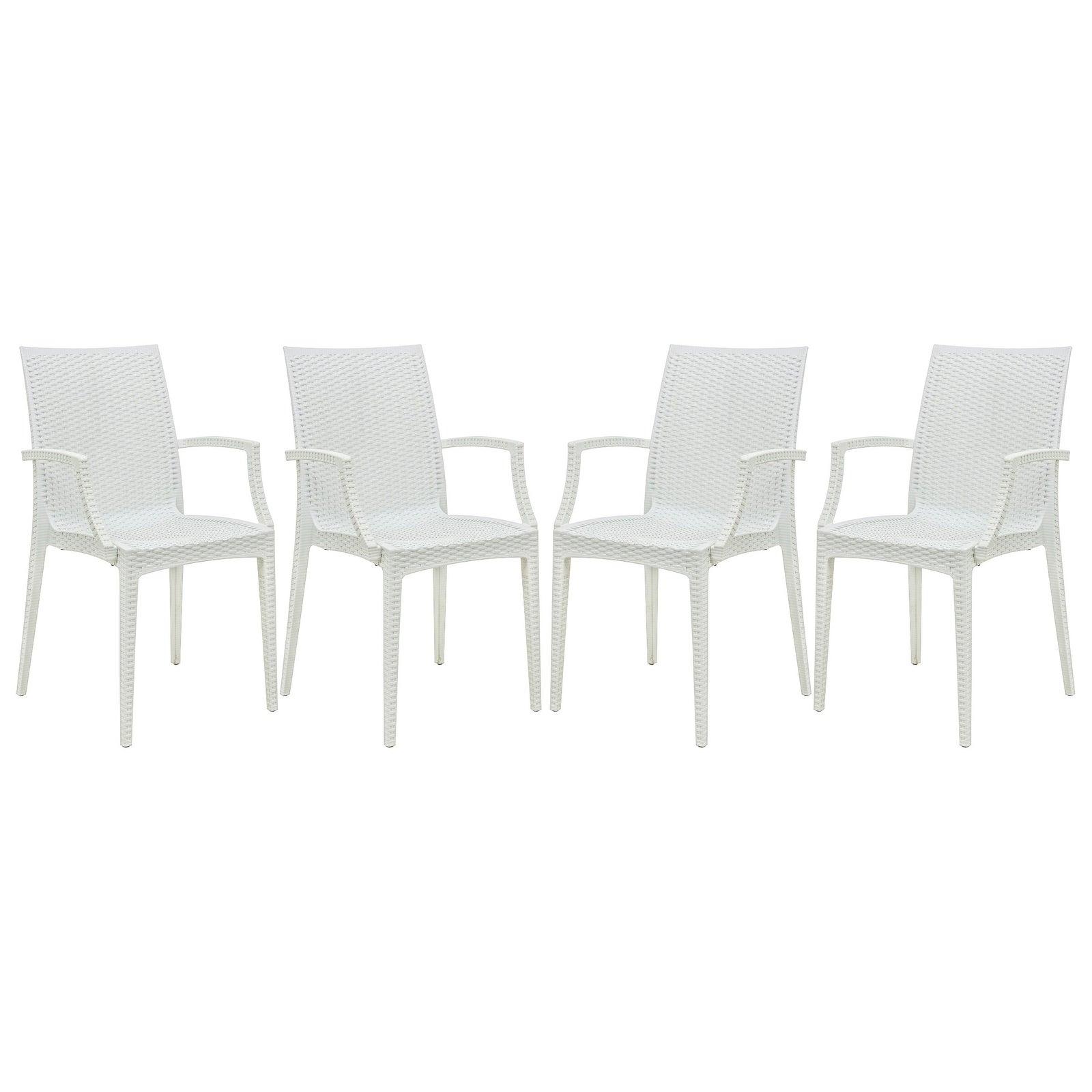 LeisureMod Mace Weave Wicker Design Indoor/ Outdoor White...