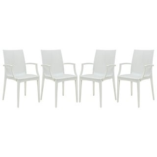 LeisureMod Weave Mace Indoor Outdoor White Dining Armchair Set of 4