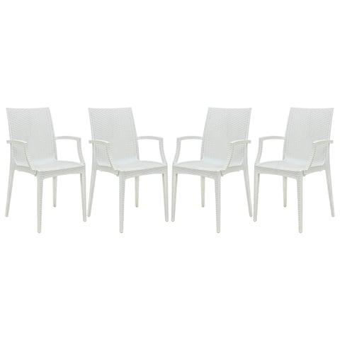 LeisureMod Weave Mace Indoor Outdoor White Dining Armchair Set of 4