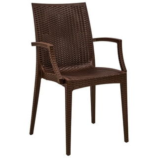 LeisureMod Mace Weave Wicker Design Indoor/ Outdoor Dining Brown Armchair