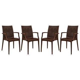LeisureMod Mace Weave Wicker Design Indoor/ Outdoor Brown Dining Armchair (Set of 4)