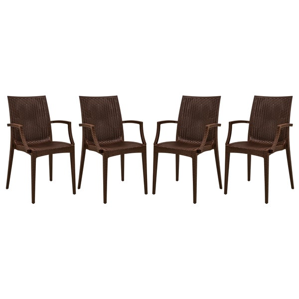 LeisureMod Weave Mace Indoor Outdoor Brown Dining Armchair Set of 4