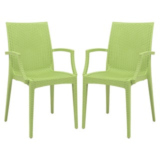 LeisureMod Mace Modern Weave Indoor/ Outdoor Green Dining Armchair (Set of 2)