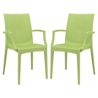LeisureMod Mace Modern Weave Indoor/ Outdoor Green Dining Armchair (Set of 2)