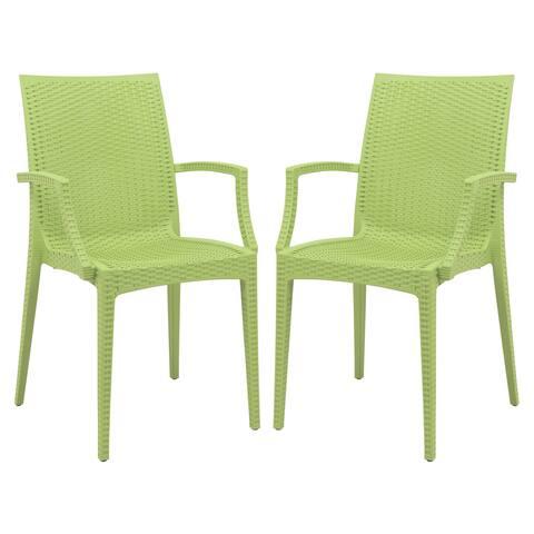 LeisureMod Weave Mace Indoor Outdoor Green Dining Armchair Set of 2