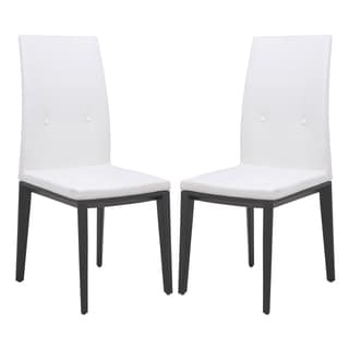 LeisureMod Somers White Faux Leather Dining Chair (Set of 2)