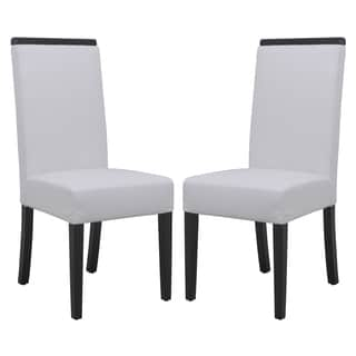 LeisureMod Elroy White Faux Leather Dining Chair (Set of 2)