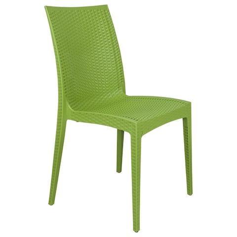 LeisureMod Mace Weave Design Indoor Outdoor Dining Chair in Green
