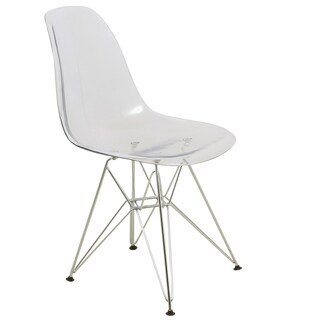 LeisureMod Cresco Clear Eiffel Dining Chair