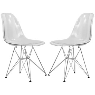 LeisureMod Cresco Eiffel Clear Side Chair (Set of 2)