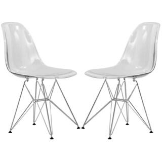 LeisureMod Cresco Eiffel Clear Dining Chair (Set of 2)