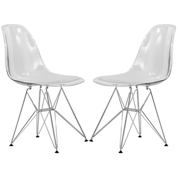 Ordinaire LeisureMod Cresco Eiffel Clear Dining Chair (Set Of 2)
