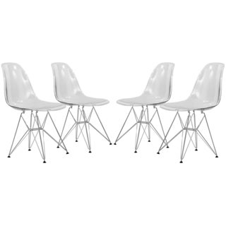 LeisureMod Cresco Clear Eiffel Chrome Base Dining Side Chair Set of 4