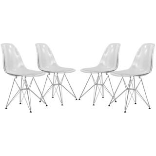 LeisureMod Cresco Clear Eiffel Dining Chair (Set of 4)