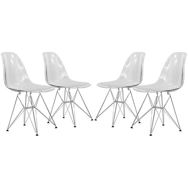 leisuremod cresco clear eiffel dining chair set of 4