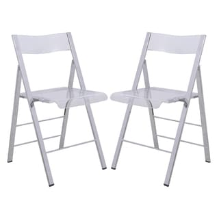 LeisureMod Menno Transparent Folding Chair (Set of 2)