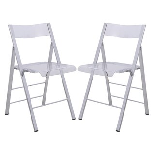 LeisureMod Menno Clear Contemporary Folding Chair w/ Chrome Frame (Set of 2)