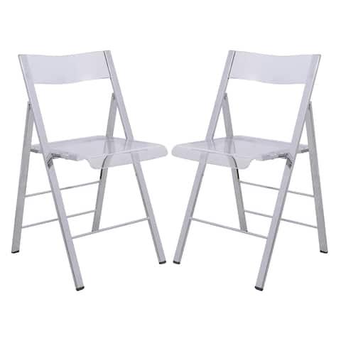 LeisureMod Menno Modern Folding Chair With Chrome Frame Set of 2