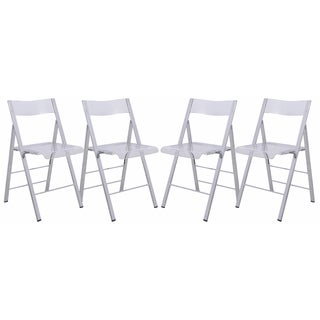 LeisureMod Menno Clear Contemporary Folding Chair w/ Chrome Frame (Set of 4)
