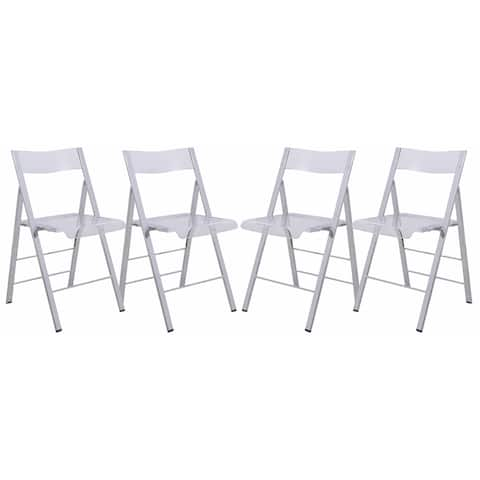 LeisureMod Menno Chrome Frame Folding Chair (Set of 4)