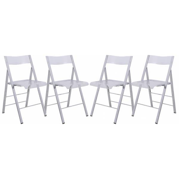 Genial LeisureMod Menno Transparent Folding Chair (Set Of 4)
