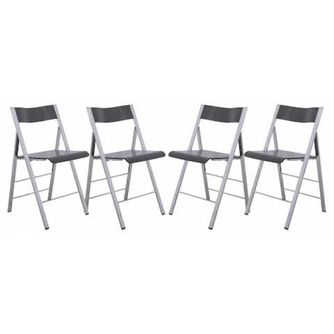 LeisureMod Menno Transparent Black Contemporary Folding Chair w/ Chrome Frame Set of 4