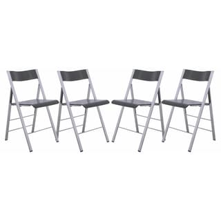 LeisureMod Menno Transparent Black Folding Chair (Set of 4)