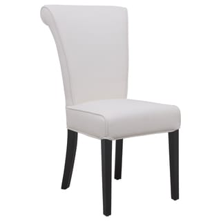 LeisureMod Eden White Faux Leather Dining Chair