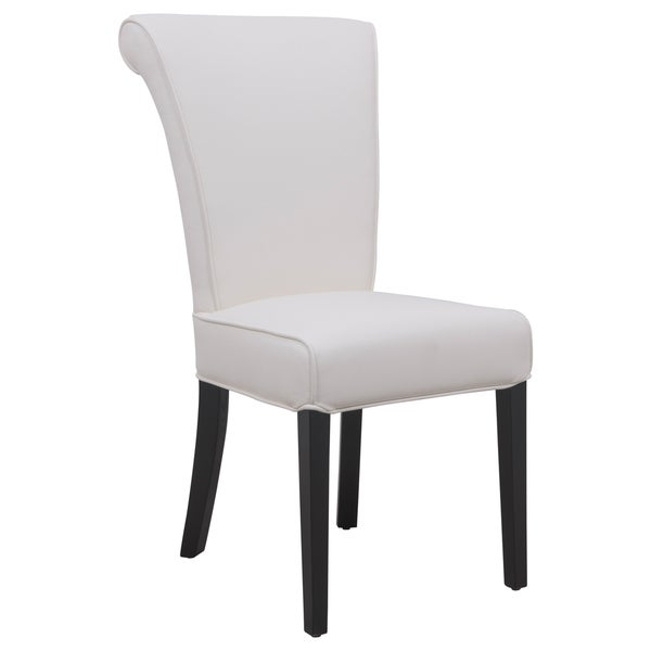 shop leisuremod eden contemporary white faux leather dining chair free shipping today. Black Bedroom Furniture Sets. Home Design Ideas