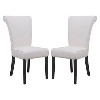 LeisureMod Eden White Faux Leather Dining Chair (Set of 2)
