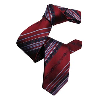 Dmitry Men's Burgundy Patterned Italian Silk Tie