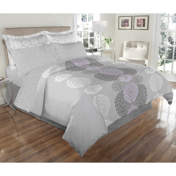 Avery Reversible Grey and Lilac 8-piece Bed In A Bag
