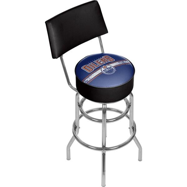 NHL Swivel Bar Stool with Back - Edmonton Oilers