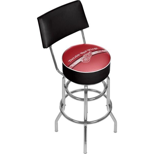 NHL Swivel Bar Stool with Back - Detroit Redwings