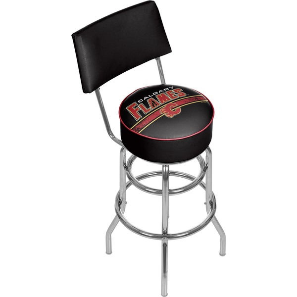 NHL Swivel Bar Stool with Back - Calgary Flames