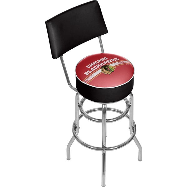 NHL Swivel Bar Stool with Back -Chicago Blackhawks