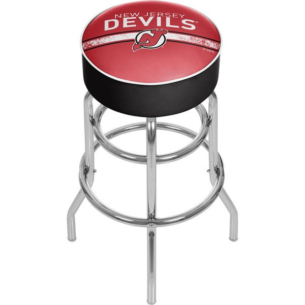 NHL Chrome Bar Stool with Swivel - New Jersey Devils
