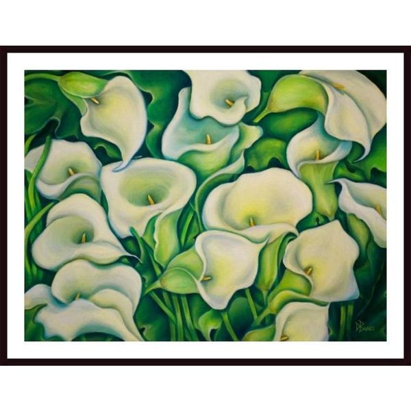 Debra Bucci 'Sun Kissed Calla Lilies' Framed Art