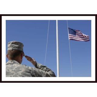 Stocktrek Images 'A Soldier Salutes the American Flag' Framed Art