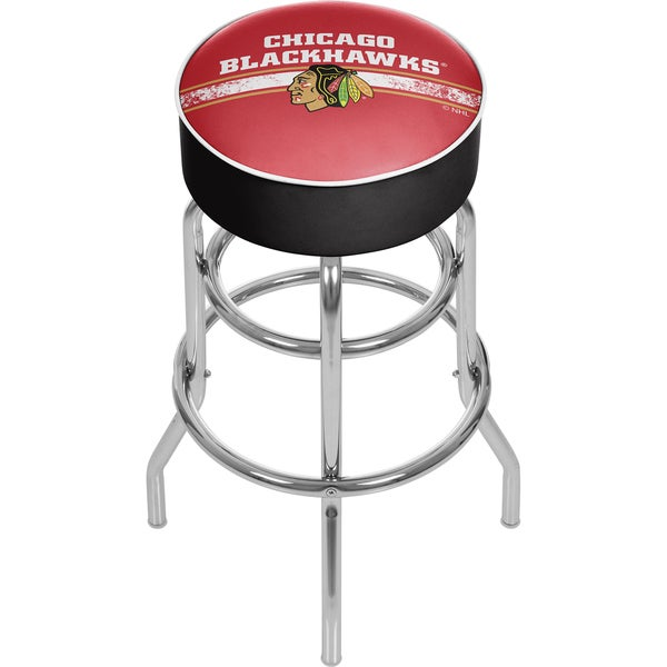 NHL Chrome Bar Stool with Swivel - Chicago Blackhawks