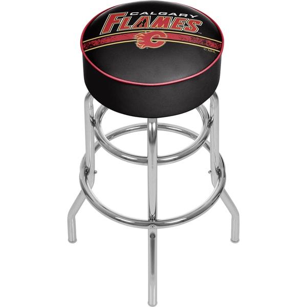 NHL Chrome Bar Stool with Swivel - Calgary Flames